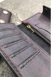 Тёмно-коричневое кожаное портмоне ручной работы L-111