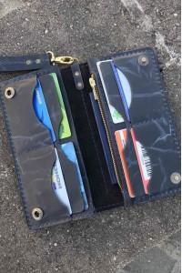Тёмно-синее кожаное портмоне ручной работы L-101