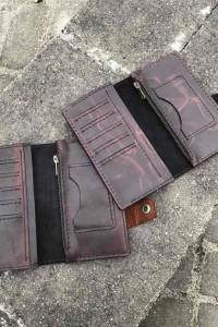 Тёмно-коричневое кожаное портмоне ручной работы L-211