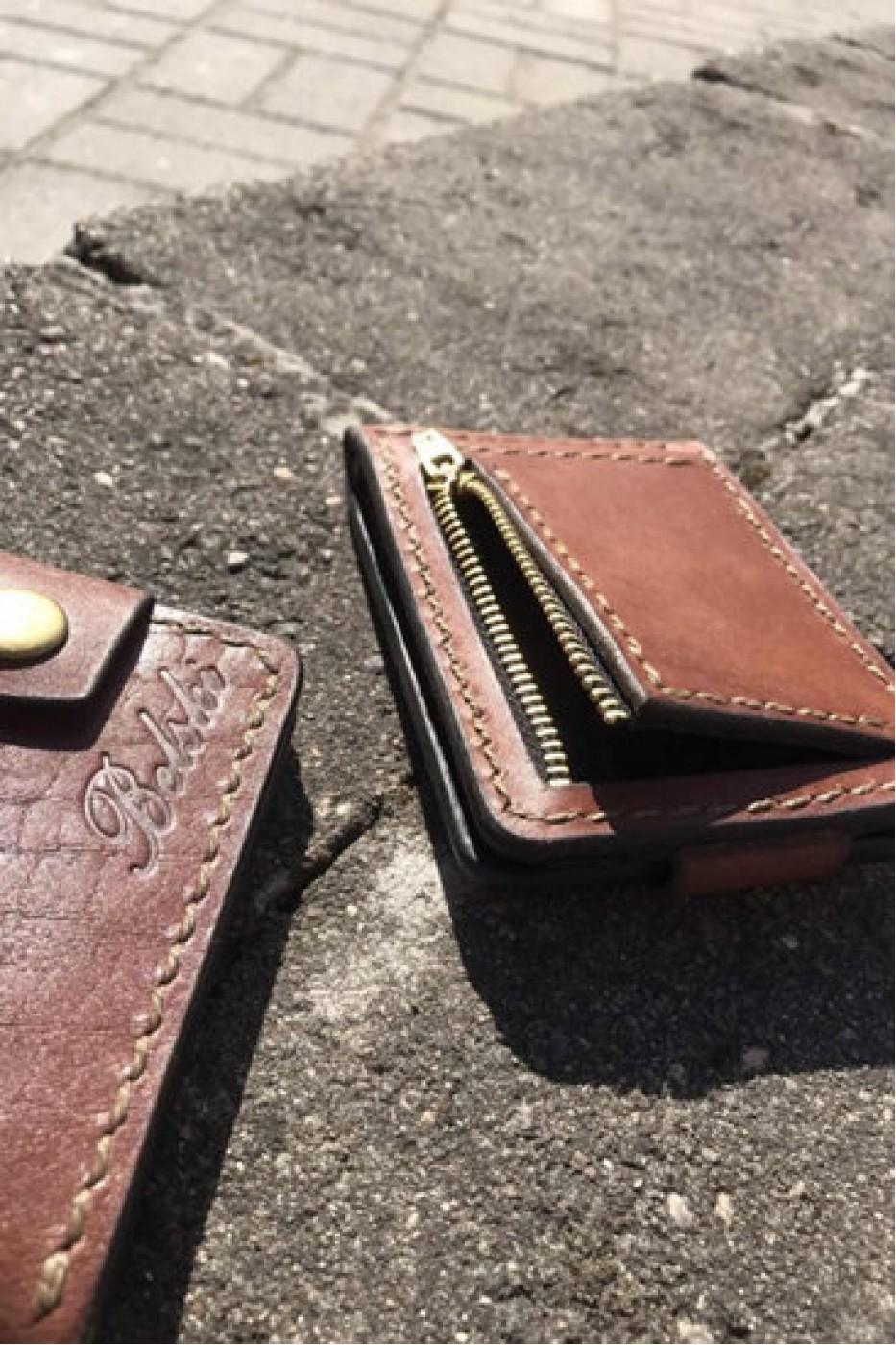 Коричневый кожаный зажим для денег с монетницей ручной работы B-101