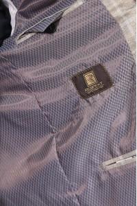 Бежевый классический мужской пиджак в серую клетку 2010 (CORVUS-180)