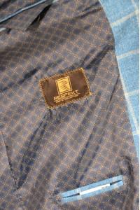 Голубой классический мужской пиджак в серую клетку 2010 (CORVUS-180)