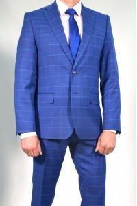 Синий классический мужской пиджак в красную клетку 2011П (MORIS-180)