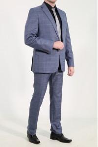 Тёмно-синие мужские демисезонные брюки в серую клетку 2012Б (MORIS-588)