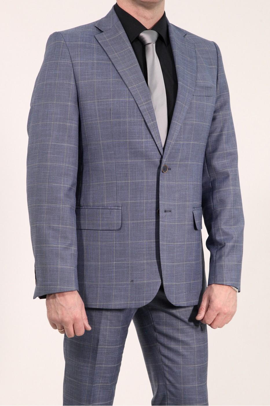 Тёмно-синий мужской пиджак в серую клетку 2012П (MORIS-180)