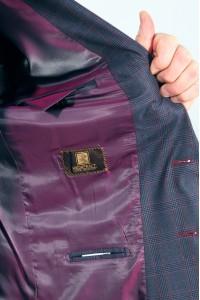 Тёмно-синий мужской классический пиджак в красную клетку 2019П (VOLAN-1087)