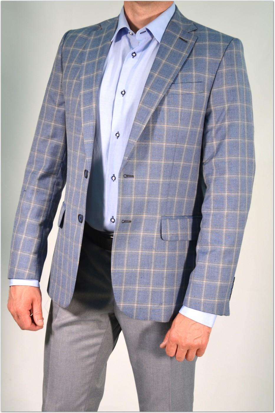 Голубой классический мужской пиджак в серую клетку 2021 (PAVLIN-180)