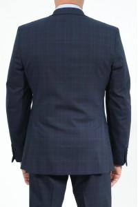 Тёмно-синий классический мужской пиджак в голубую клетку 2022П (BORELLI-1088)
