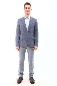 Серый мужской пиджак casual в синюю клетку 2119 (BRUNO-1088)