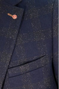 Тёмно-синий мужской пиджак в зелёную клетку под джинсы 668 (ROCCIA-ITUV5BN2)