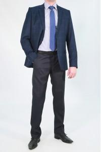 Синий мужской пиджак в синюю клетку под джинсы 781 (PETER-162)