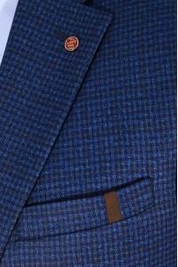 Синий мужской пиджак в чёрную клетку под джинсы 799 (LUKE-168)