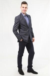 Серый мужской пиджак в чёрную клетку под джинсы 827 (NICK GREY-168)