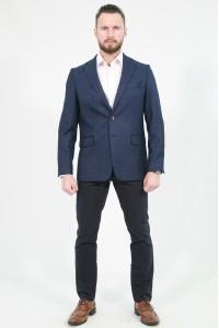 Синий мужской пиджак в чёрную клетку под джинсы  841 (LUKE-168)