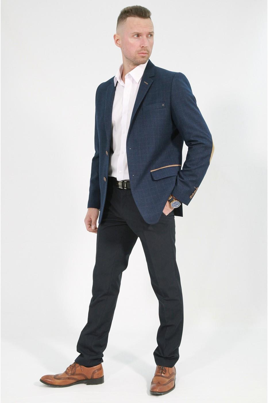 Тёмно-синий мужской пиджак в золотую клетку 845 (RAFAEL-162)