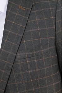 Тёмно-коричневый мужской пиджак в коричневую клетку 846 (RUSSELL-1682)