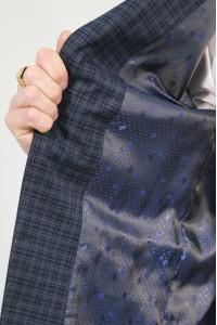 Тёмно-синий мужской пиджак в серую клетку 847 (HUDSON-1682)