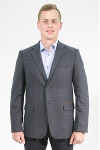 Серый мужской пиджак в синюю клетку 848 (CHANTAL-1682)