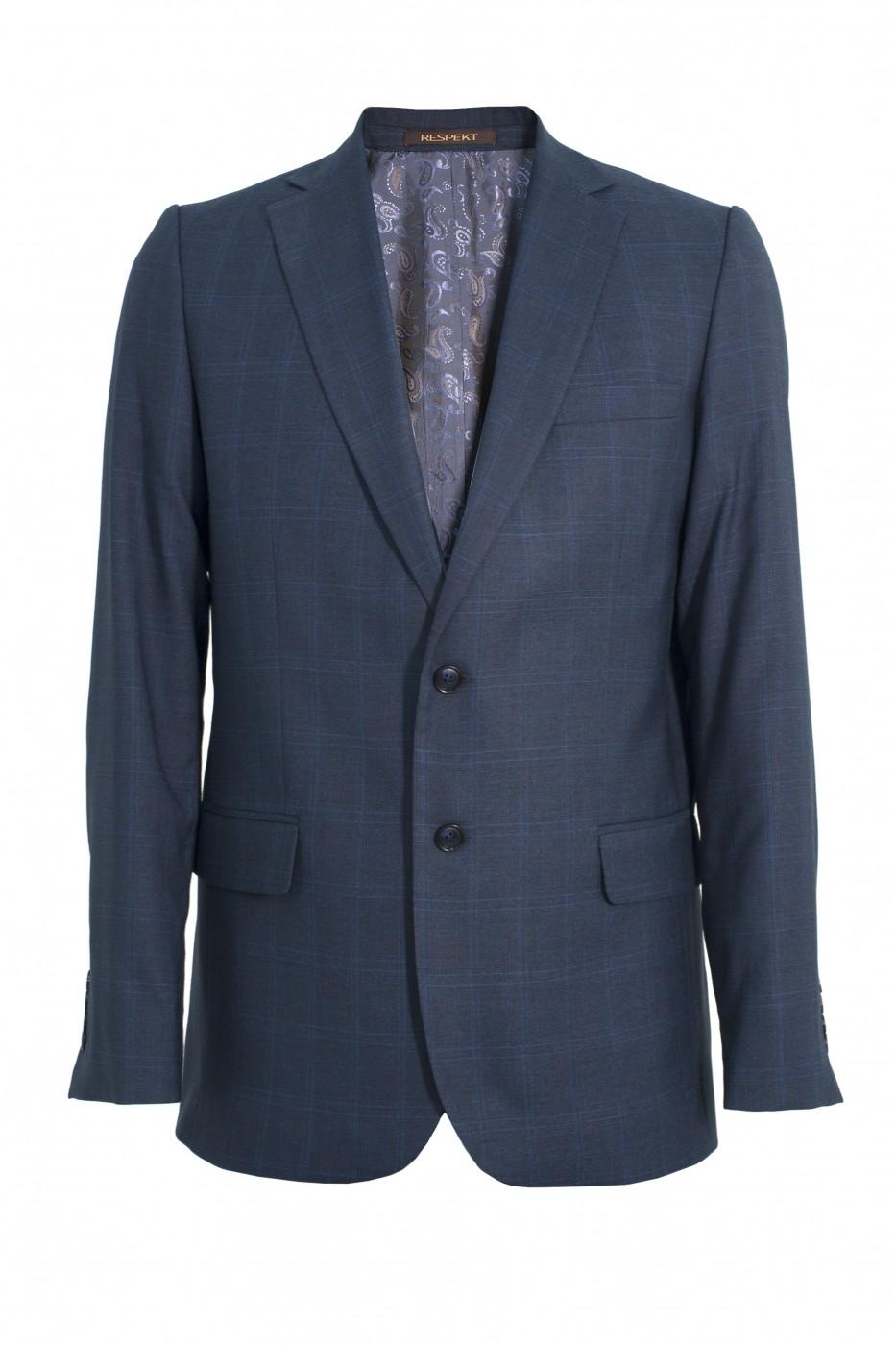 Тёмно-синий мужской пиджак в клетку 909 (18222-1682)