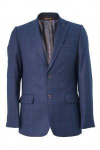 Тёмно-синий мужской пиджак в золотую клетку 911 (0453-168)