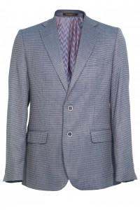Серый мужской пиджак в мелкую чёрную клетку 917 (SUNSET-180)