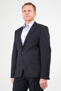 Чёрный мужской пиджак в серую клетку под джинсы 586 (VENUS-ITUV5)