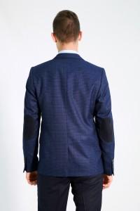 Синий мужской пиджак в чёрную клетку под джинсы 676 (LUKE-ITUV5BN2O)