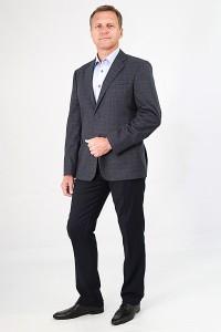 Серый мужской пиджак в синюю клетку 727 (CHANTAL-SUD2O)
