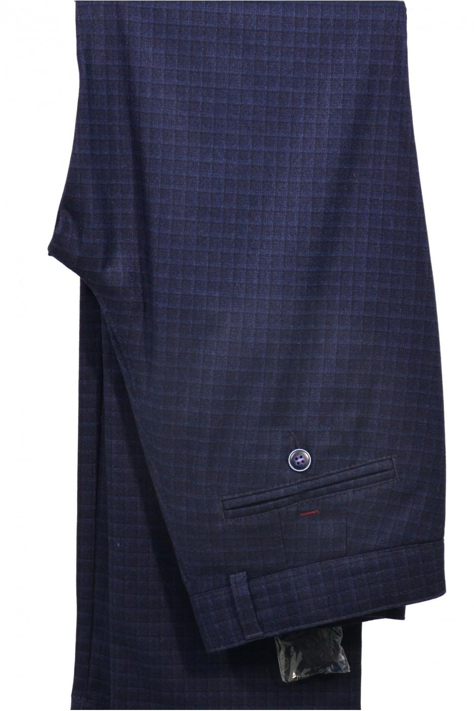 Тёмно-синие школьные брюки в клетку детские - Д 2007Б (BENNY BLUE)