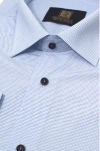 Голубая мужская рубашка в синюю клетку 303 (54-07)