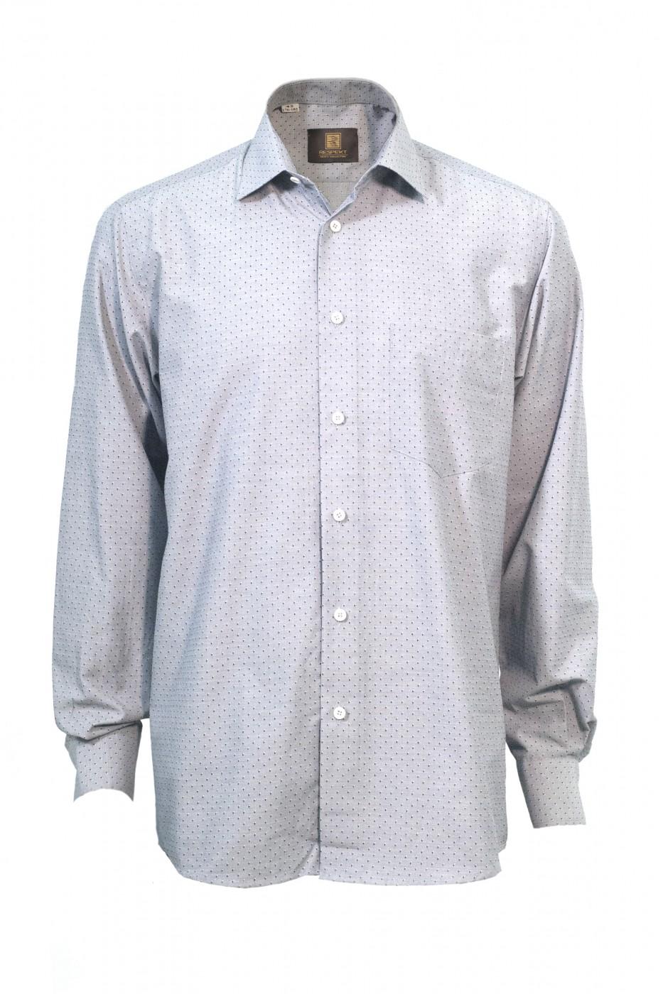 Серая мужская рубашка в чёрную крапинку 305 (56)