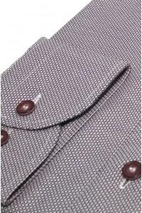 Бордовая мужская рубашка в белую полоску 308 (54-07)