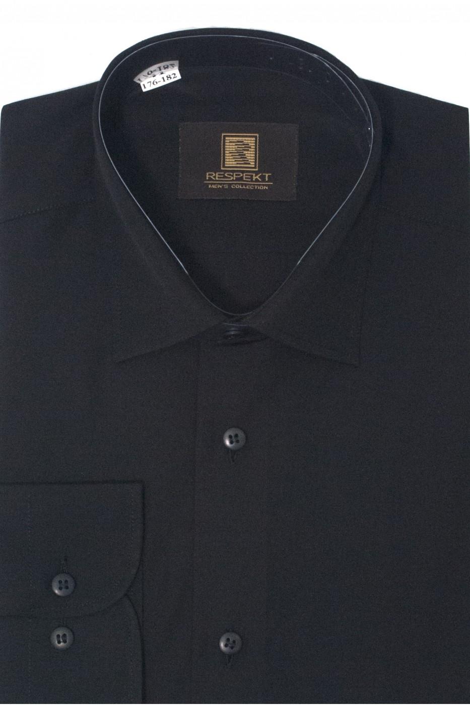 Чёрная мужская однотонная рубашка 310 (54-07)