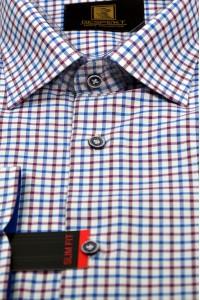 Белая мужская рубашка в красно-голубую клетку 327 (54-07)