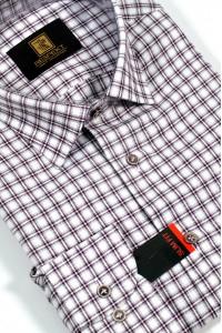 Белая мужская рубашка в красную клетку 328 (54-07)
