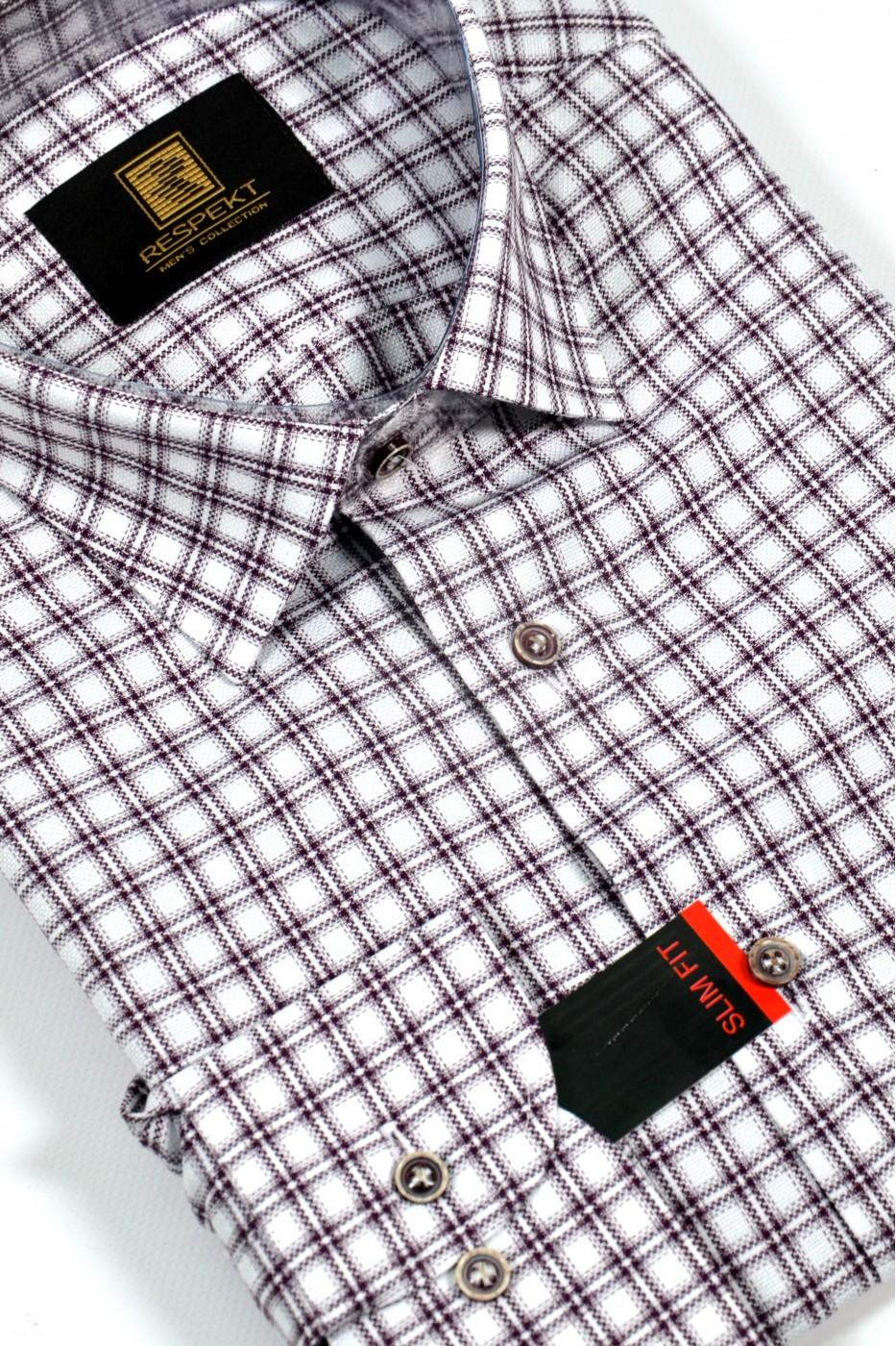 Белая мужская рубашка в красную клетку 328 (53-08)