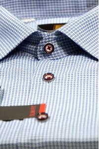 Голубая мужская рубашка в синюю звездочку 329 (54-07)