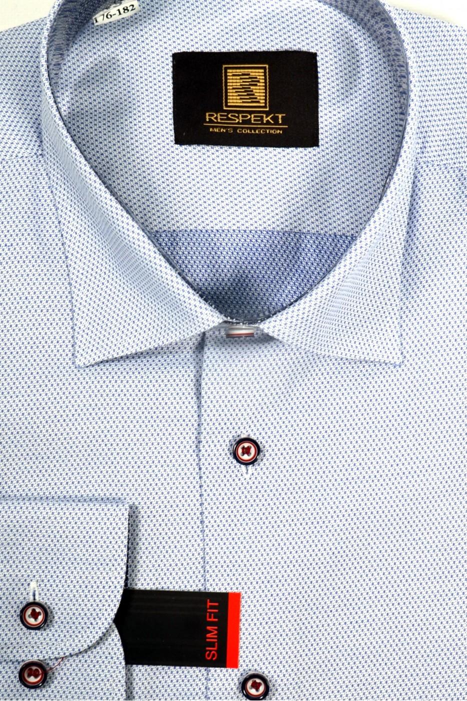 Голубая мужская рубашка в синюю крапинку 330 (56)