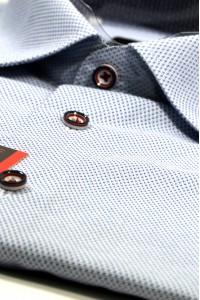 Голубая мужская рубашка в синюю крапинку 330 (54-07)