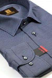Тёмно-синяя мужская сорочка в белую крапинку 331 (54-07)