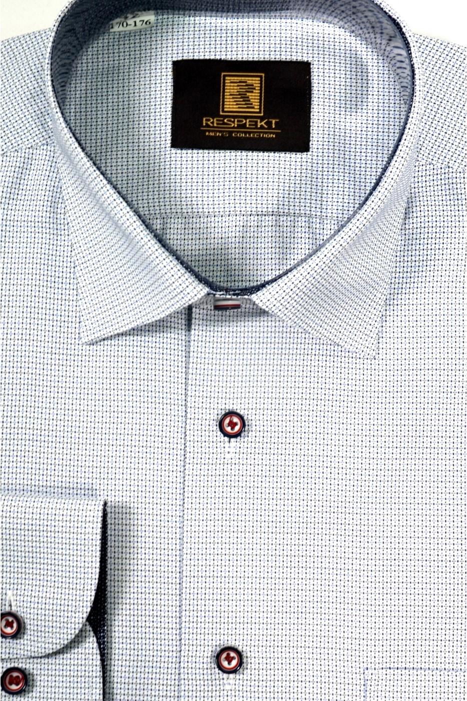 Голубая мужская рубашка в мелкую чёрно-синюю клетку 332 (53-08)