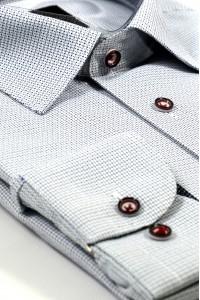Голубая мужская рубашка в мелкую чёрно-синюю клетку 332 (56)
