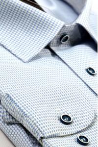 Голубая мужская рубашка в мелкую белую клетку 333 (53-08)