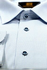 Белая мужская рубашка в мелкую голубую клетку 333 (53-08)
