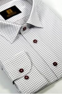 Белая мужская рубашка в мелкую красную клетку 334 (53-08)