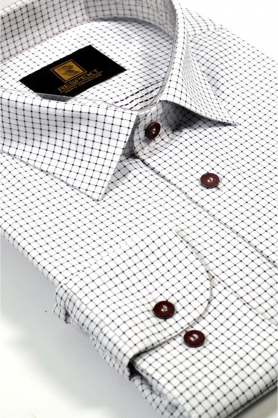 Белая мужская рубашка в мелкую красную клетку 334 (54-07)