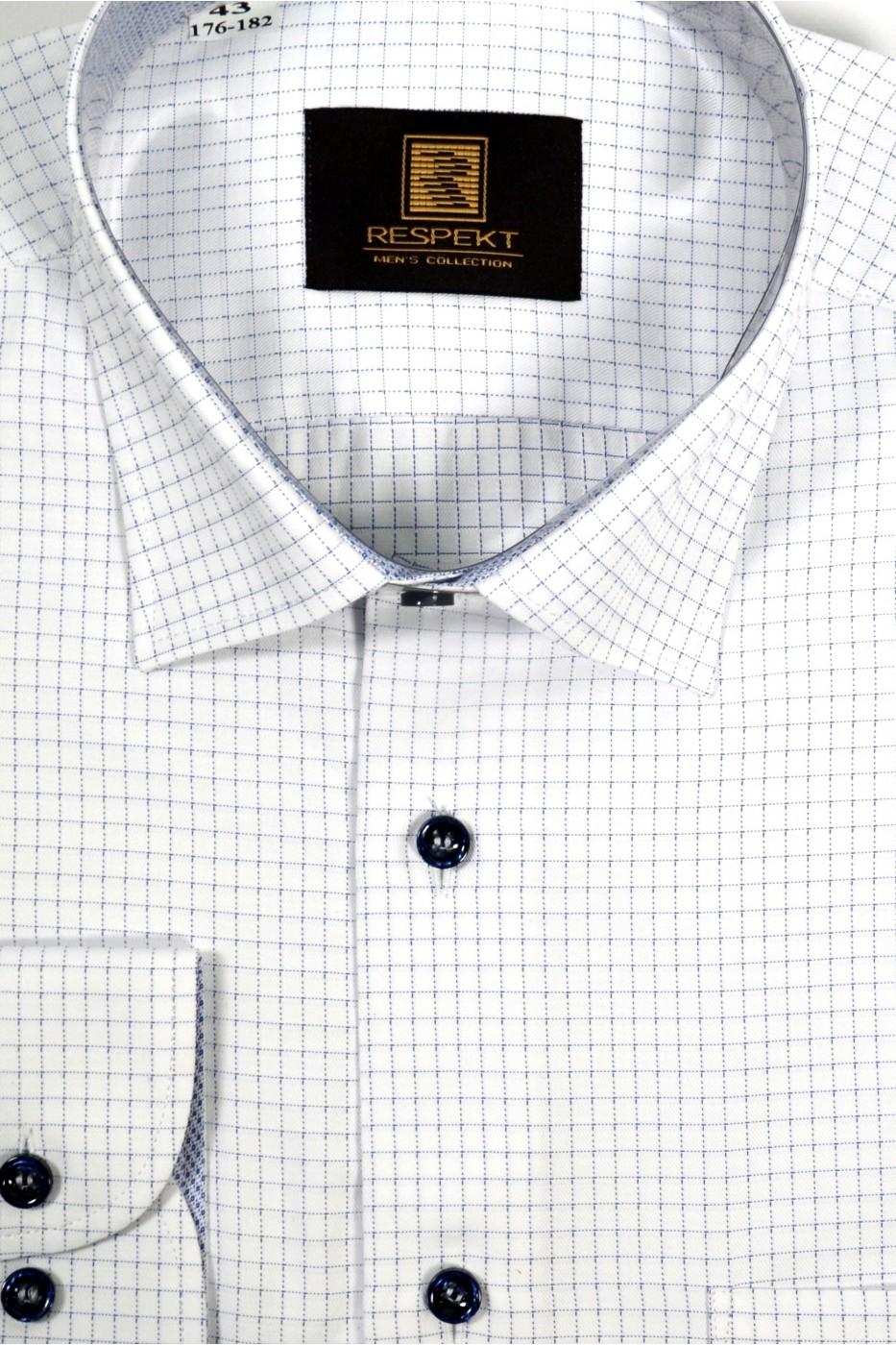 Белая мужская рубашка в голубую клетку 335 (56)