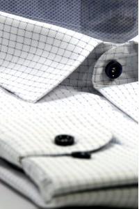 Белая мужская рубашка в голубую клетку 335 (53-08)