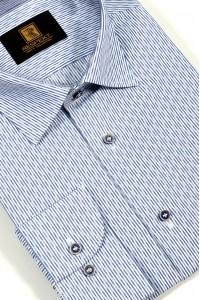 Голубая мужская рубашка в синюю полоску 336 (53-08)