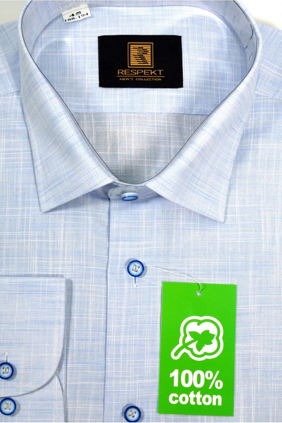 Голубая мужская рубашку в белую клетку 337 (56)